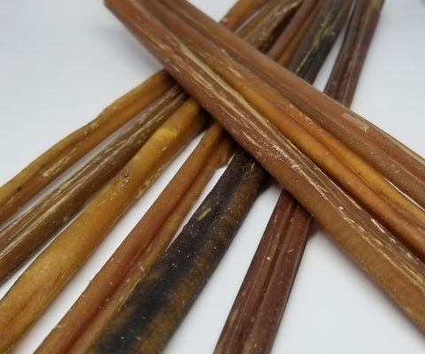 12″ Thin Bully Stick dog treats (10 pieces per bag)